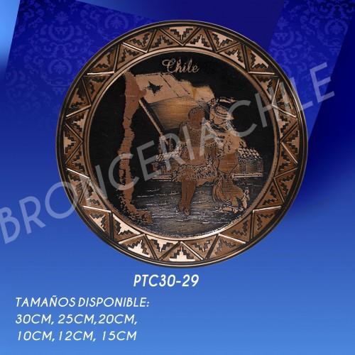 PTC30-29 MAPA CHILE , BANDERA Y CUECA