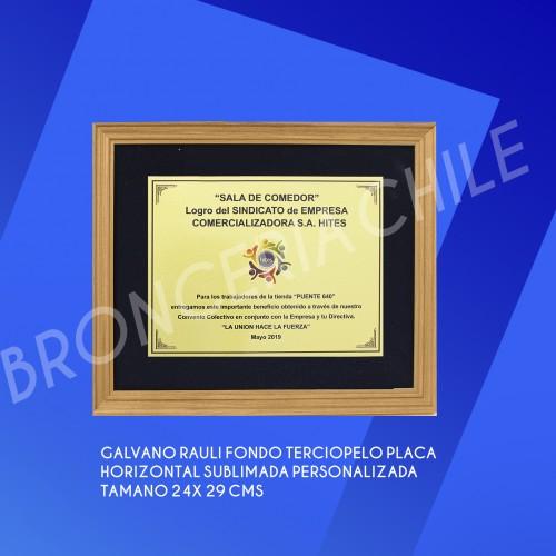 galvano rauli fondo terciopelo placa horizontal sublimada personalizado